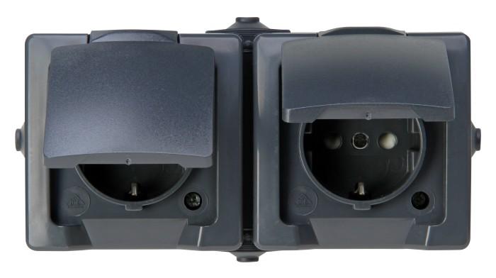 Kopp Nautic horizontal 2-way socket with hinged cover, anthracite (137015003)
