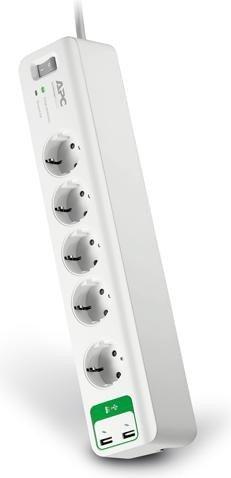 APC SurgeArrest Essential 5-fach Überspannungsschutz, 2x USB (PM5U-GR)