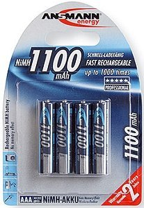 Ansmann Micro AAA NiMH rechargeable battery 1100mAh, 4-pack (5035232)