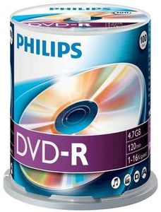 Philips DVD-R 4.7GB, 100-pack (DM4S6B00F)