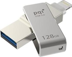 PQI iConnect mini metallic-gray 64GB, USB-A 3.0/Lightning