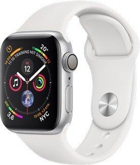 Apple Watch Series 4 (GPS) 40mm Silver Aluminium Case with White Sport Band (MU642FD/A)