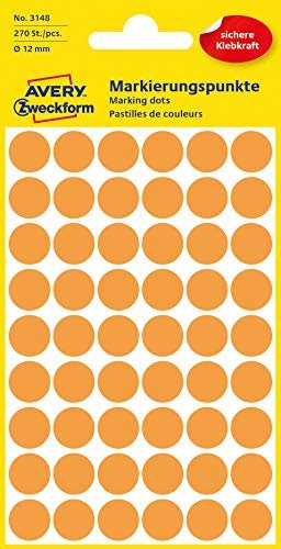 /Ø 12 mm, 270 Klebepunkte auf 5 Bogen, runde Aufkleber f/ür Kalender, Planer und zum Basteln, Papier, matt rot AVERY Zweckform 3141 selbstklebende Markierungspunkte