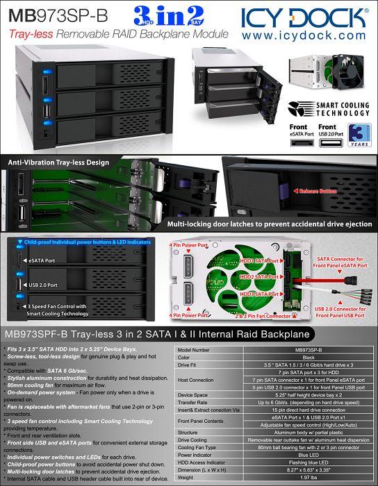 Cremax Icy Dock FlexCage MB973SP-B