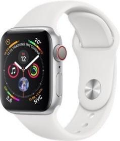 Apple Watch Series 4 (GPS + Cellular) Aluminium 40mm silber mit Sportarmband weiß (MTVA2FD/A)