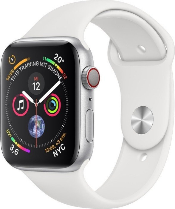 Apple Watch Series 4 (GPS + Cellular) 44mm Silver Aluminium Case with White Sport Band (MTVR2FD/A)
