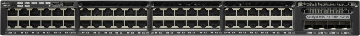 Cisco Catalyst 3650 IP Base Rackmount Gigabit Managed Stack Switch, 48x RJ-45, 4x SFP+, 775W PoE+ (WS-C3650-48FQM-S)