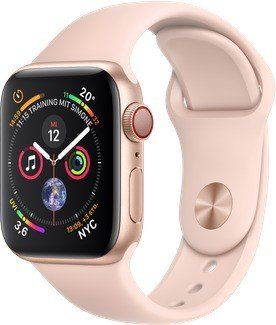 Apple Watch Series 4 (GPS + Cellular) Aluminium 40mm gold mit Sportarmband sandrosa (MTVG2FD/A)