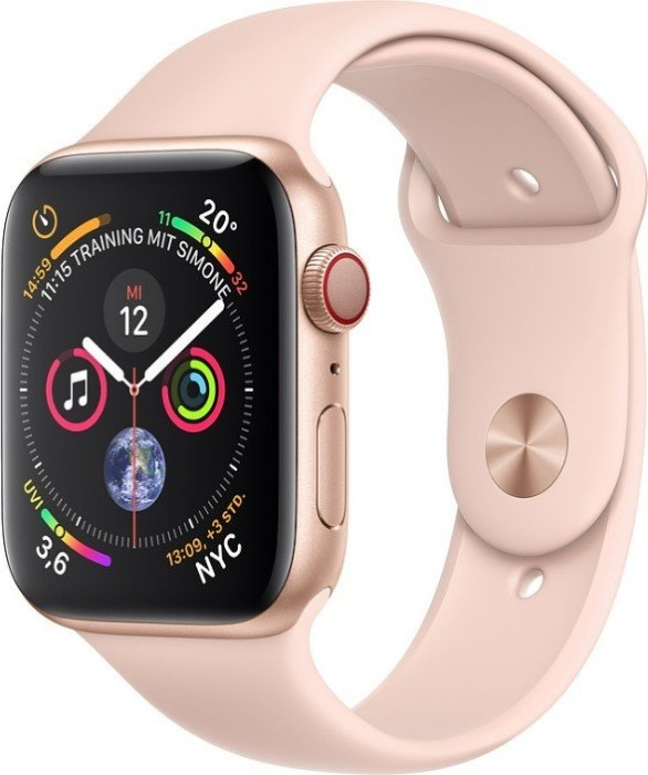 Apple Watch Series 4 (GPS + Cellular) 44mm Gold Aluminium Case with Pink Sand Sport Band (MTVW2FD/A)