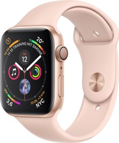 Apple Watch Series 4 (GPS) Aluminium 44mm gold mit Sportarmband sandrosa (MU6F2FD/A)