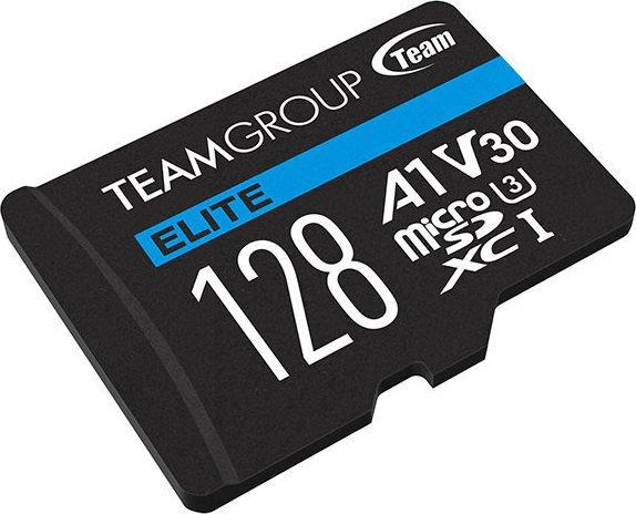TeamGroup ELITE R90/W45 microSDXC 128GB Kit, UHS-I U3, A1, Class 10 (TEAUSDX128GIV30A103)