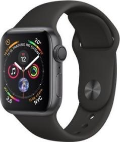 Apple Watch Series 4 (GPS) Aluminium 40mm grau mit Sportarmband schwarz (MU662FD/A)