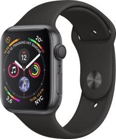 Apple Watch Series 4 (GPS) Aluminium 44mm grau mit Sportarmband schwarz (MU6D2FD/A)