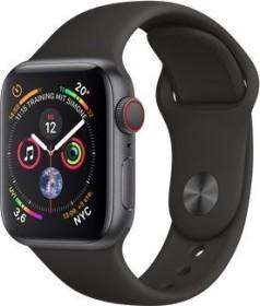 Apple Watch Series 4 (GPS + Cellular) Aluminium 40mm grau mit Sportarmband schwarz (MTVD2FD/A)