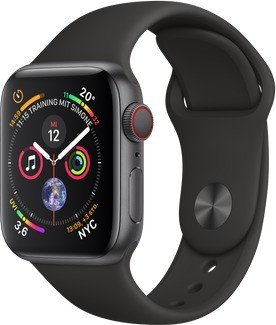 Apple Watch Series 4 (GPS + Cellular) Aluminium 40mm grau mit Sportarmband schwarz (MTVD2FD/A)