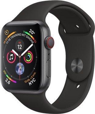 Apple Watch Series 4 (GPS + Cellular) Aluminium 44mm grau mit Sportarmband schwarz (MTVU2FD/A)
