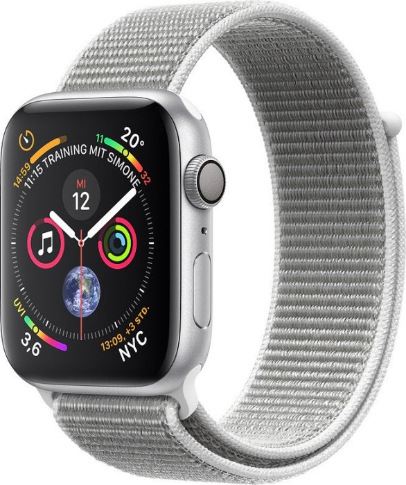 Apple Watch Series 4 (GPS) Aluminium 44mm silber mit Sport Loop muschelgrau (MU6C2FD/A)