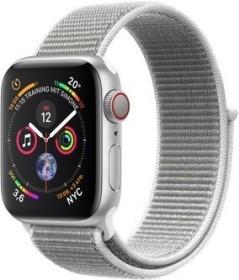 Apple Watch Series 4 (GPS + Cellular) Aluminium 40mm silber mit Sport Loop muschelgrau (MTVC2FD/A)