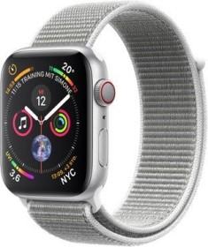 Apple Watch Series 4 (GPS + Cellular) Aluminium 44mm silber mit Sport Loop muschelgrau (MTVT2FD/A)