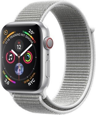 Apple Watch Series 4 (GPS + Cellular) 44mm Silver Aluminium Case with Seashell Sport Loop (MTVT2FD/A)