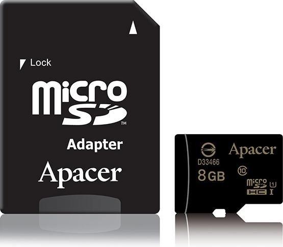Apacer microSDHC 8GB Kit, UHS-I U1, Class 10 (AP8GMCSH10U1-R)