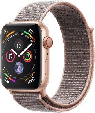 Apple Apple Watch Series 4 (GPS + Cellular) 44mm Gold Aluminium Case with Pink Sand Sport Loop (MTVX2FD/A)