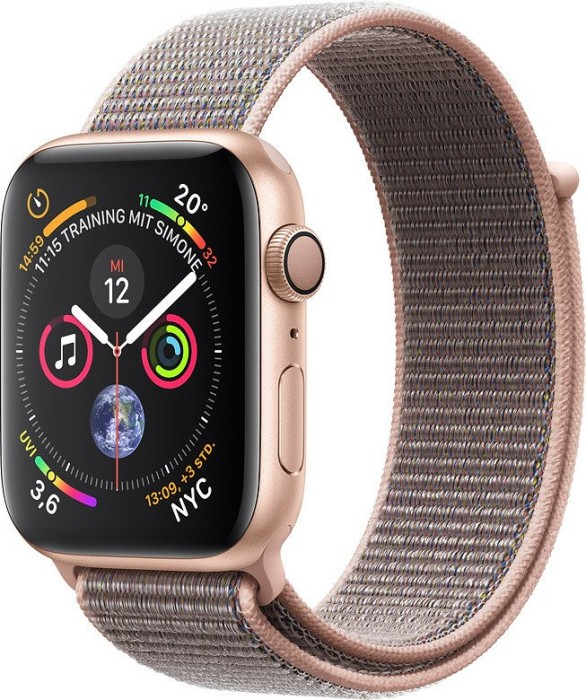 Apple Watch Series 4 (GPS) Aluminium 44mm gold mit Sport Loop sandrosa (MU6G2FD/A)
