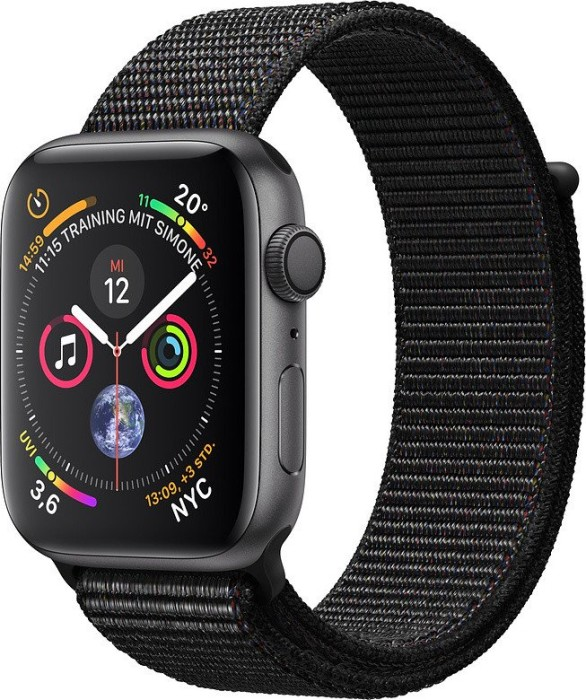 Apple Watch Series 4 (GPS) 44mm Space Grey Aluminium Case with Black Sport Loop (MU6E2FD/A)
