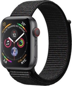 Apple Watch Series 4 (GPS + Cellular) Aluminium 44mm grau mit Sport Loop schwarz (MTVV2FD/A)