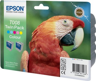 Epson Tinte T008 farbig, 2er-Pack (C13T00840310)