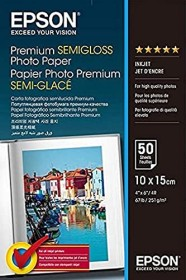 Epson premium photo paper semigloss, 10x15, 251g/m², 50 sheets (S041765)