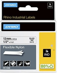 Dymo ID1 flexible Industrial Rhino Pro labelling tape 12mm, black/white (18488 / 18758)