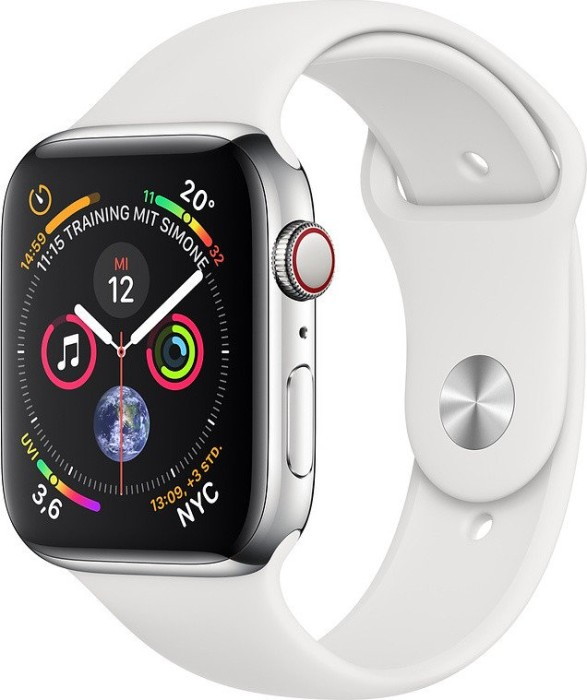 Apple Watch Series 4 (GPS + cellular) stainless steel 44mm silver with sport wristlet white (MTX02FD/A)