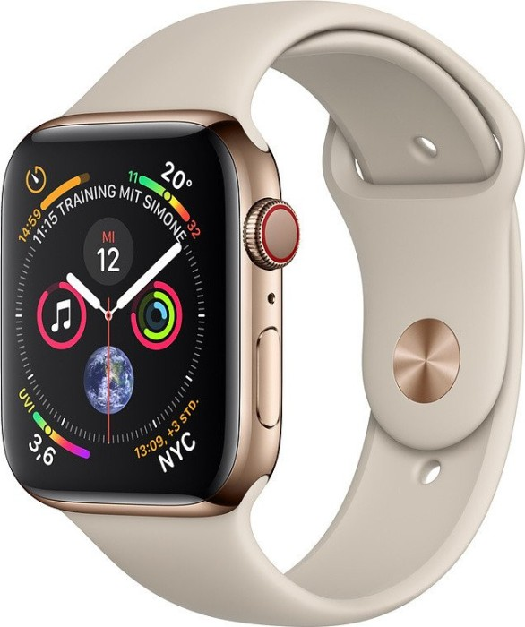 Apple Watch Series 4 (GPS + Cellular) Edelstahl 44mm gold mit Sportarmband steingrau (MTX42FD/A)