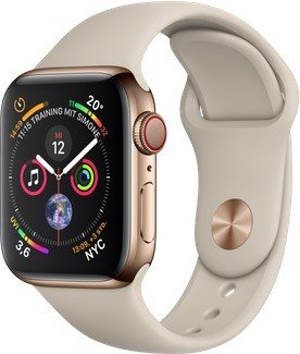 Apple Watch Series 4 (GPS + cellular) stainless steel 40mm gold with sport wristlet stone grey (MTVN2FD/A)