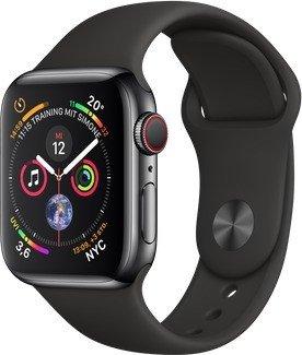 Apple Watch Series 4 (GPS + Cellular) Edelstahl 40mm schwarz mit Sportarmband schwarz (MTVL2FD/A)