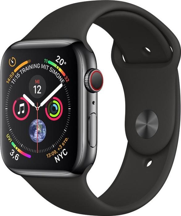 Apple Watch Series 4 (GPS + Cellular) Edelstahl 44mm schwarz mit Sportarmband schwarz (MTX22FD/A)