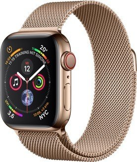 Apple Watch Series 4 (GPS + Cellular) Edelstahl 40mm gold mit Milanaise-Armband gold (MTVQ2FD/A)