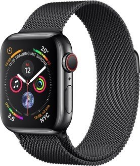 Apple Watch Series 4 (GPS + cellular) stainless steel 40mm black with Milanaise-Wristlet black (MTVM2FD/A)