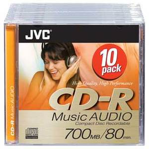JVC CD-R 80min/700MB 52x, 10-pack (CD-RA80DE10)