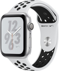 Apple Watch Nike+ Series 4 (GPS) Aluminium 44mm silber mit Sportarmband Platinum/schwarz (MU6K2FD/A)