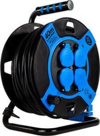 REV Ritter cable drum, black/blue, IP44, short-term Outdoor-insert, 4-way, 40m (0010117812)