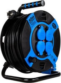 REV Ritter cable drum, black/blue, IP44, short-term Outdoor-insert, 4-way, 50m (0010118812)