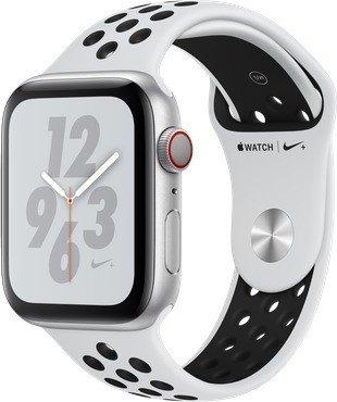 Apple Watch Nike+ Series 4 (GPS + Cellular) 44mm Silver Aluminium Case with Pure Platinum/Black Nike Sport Band (MTXK2FD/A)