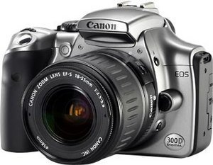 Canon EOS 300D black with third-party manufacturer lens