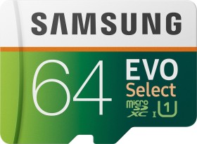 Samsung EVO Select R100/W20 microSDXC 64GB Kit, UHS-I U1, Class 10 (MB-ME64HA)