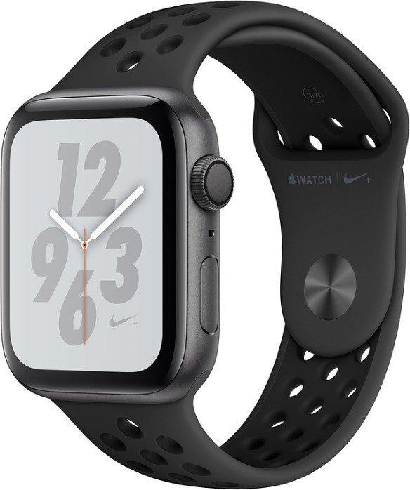 Apple Watch Nike+ Series 4 (GPS) Aluminium 44mm grau mit Sportarmband anthrazit/schwarz (MU6L2FD/A)