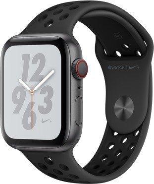 Apple Watch Nike+ Series 4 (GPS + Cellular) Aluminium 44mm grau mit Sportarmband anthrazit/schwarz (MTXM2FD/A)