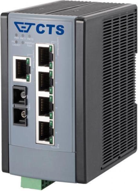 CTS WAS-2006 Industrial Railmount Switch, 5x RJ-45, 1x SFP, PoE+ (WPS-2006SFP)