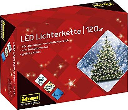 ca LED Lichterkette mit 120 LED in warm wei/ß Hochzeit Idena 8325097 f/ür Partys Innen und Au/ßenbereich als Stimmungslicht Deko Weihnachten mit 8 Stunden Timer Funktion 19,9 m